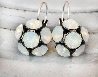 Opal Wedding Earrings - Moonstone Earrings - White Opal Earrings - Flower Bridal Earrings - Bridal Cluster Earrings -  1930s Wedding