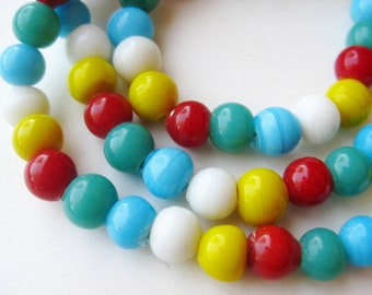 Vintage Art Glass Multi Colored Bead Beaded Choker Necklace