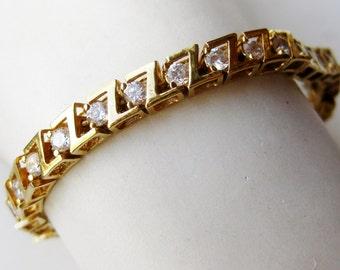 Vintage Gold Vermeil Solid Sterling Silver CZ Faux Diamond Tennis Bracelet