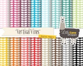 SALE: Vines Digital Papers, Vertical Vine Digital Scrapbook Paper Pack, 12 x 12 Paper Pack, Grapevine Pattern, Commercial Use