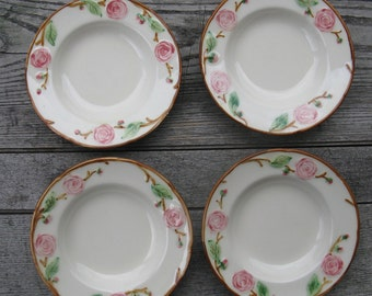 metlox pottery camellia 6 1/8 inch berry bowls 1940s california pottery set of 4 hand painted