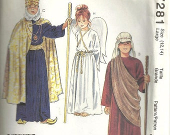 Children's Costume Pattern Nativity Play Size Large 12 14 McCalls 7281