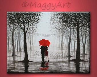 original abstract painting,red umbrella, home decor, kissing in rain, black white red,love couple,24x18 inch,great wedding gift