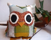 Oscar the Owl - 5 Inch Stuffed Owl Made From Salvaged and Re-Purposed Fabric