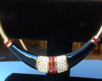 Black Enamel Necklace with Red Rhinestones