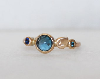 London Topaz Diamond Sapphire Ring - Bloom ring in 14k Gold - Eco-friendly Recycled Gold