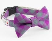 Purple Buffalo Plaid Dog Bowtie Collar