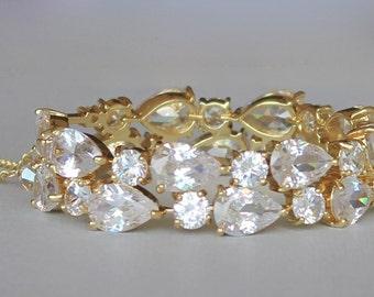 Gold Crystal Teardrop Bracelet, Chunky Crystal Gold Bracelet, Crystal Wedding Cuff,  TESSA G