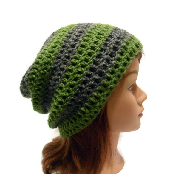 Wool Slouchy Hat, Green and Grey Hat, Striped Slouchy Hat, Hipster Beanie, Wool Winter Hat, Wool Hat, Green Striped Hat, Grey Slouchy Hat