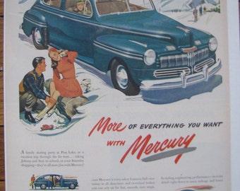 1947 Mercury Merc Full Page Color Ad Auto Art