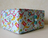 Large hand stitched fabric covered sewing box, storage box, craft box