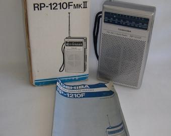 Vintage Toshiba RP-1210F MKII Transistor Radio, Original Box, Owner's Manual