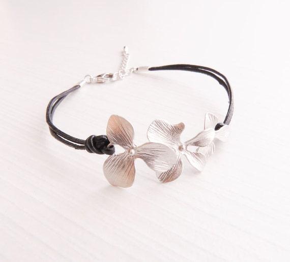 Orchid Bracelet | Layering Bracelet | Delicate Gold Bracelet | Leather Bracelet | Leather Jewelry | Gifts for her
