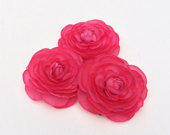 3 Hot PINK Ranunculus Flowers - SMALLER SIZE - Artificial Flowers, Silk Flowers