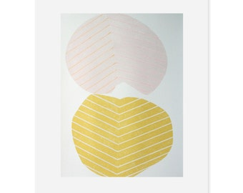 Large modern Screenprint in pink and yellow. Abstract leaf design, original, handmade by Emma Lawrenson