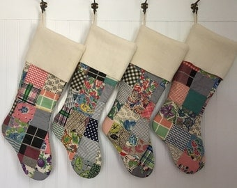 Family Set of 4 Jumbo Christmas Stocking Vintage Cabin Patchwork Quilt with Cream Turn Down Cuff Country Christmas Shabby
