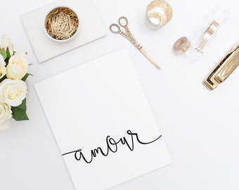 Amour Print, Minimalist Typography, Wall Art Prints, Bedroom Wall Art, Gallery Wall Art Print, Typography Prints, Inspirational Wall Art