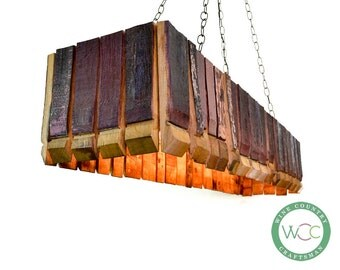 "Wine Barrel Chandelier Bar Light - CRAFTSMAN - ""Taviri"" - 100% Recycled"