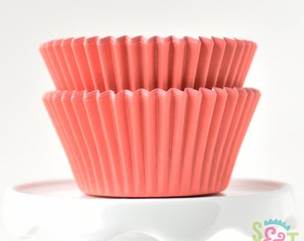 Solid Coral GREASEPROOF Cupcake Liners BakeBright Baking Cups | ~30 count