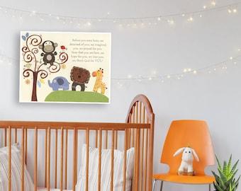 Kids Wall Decor, Kids Wall Art, Baby Room Decor, Nursery Art // Giraffe Lion Monkey // Before You Were Born // S.S. Noah, baby room decor