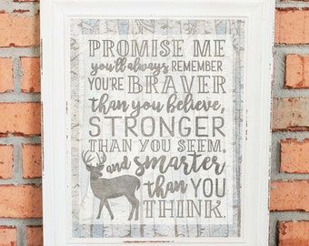 Blue and Gray Nursery Art - Woodland Creatures - Promise Me You'll Always Remember... You're Braver Than You Believe - UNFRAMED Poster Print