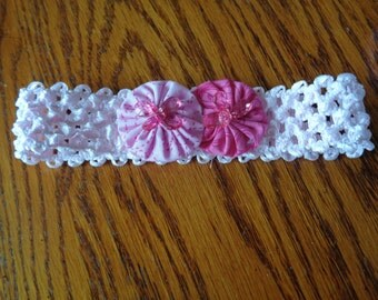 Infant headband in pink with pink yo-yo flowers and dark pink beads