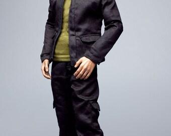 mc0270 Men's Fashion Design Black Set (Jacket, Vest, Trousers, Belt) for 1/6 Action Figure
