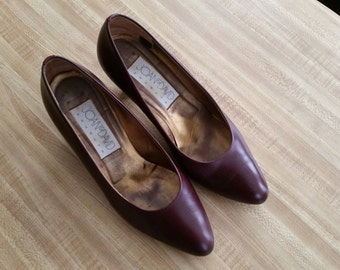Vintage Joan and David Couture Heels Pumps Shoes Wine Leather Size 8.5 1980s