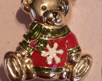 Vintage Gold Tone Metal and Enamel Teddy Bear Christmas Pin or Brooch