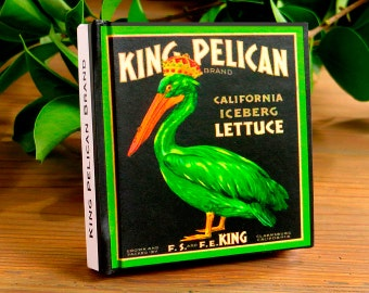 Small Journal - King Pelican Lettuce - Fruit Crate Art Print Cover