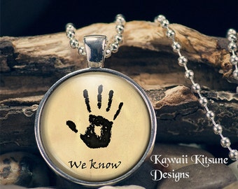 Dark Brotherhood Jewelry, We Know Necklace, Skyrim Dark Brotherhood Inspired Jewelry, We Know Jewelry, Dark Brotherhood Pendant