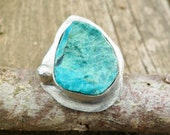 Rough Chrysocolla Ring. Adjustable Ring. Raw Chrysocolla Ring. Sterling Silver And Chrysocolla Ring. Chrysocolla Properties.