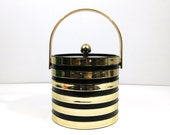 Gold and black striped ice bucket / Acrylic wine chiller / Vintage barware / Holiday entertaining