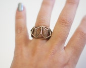 Geometric Prism Cage 3d Printed Statement Ring- Polished Steel- Antique gold