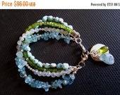 HOLIDAY WEEKEND SALE Multi Strand Gemstone Bracelet Aquamarine Peridot Moonstone And Larimar Stack Bracelet