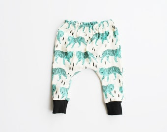 organic baby leggings / toddler harems / hipster baby clothes / cloth diaper / jade tiger pants