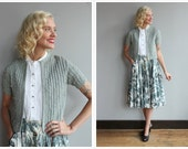 1950s Cardigan // Silver Pearl Cardigan // vintage 50s sweater