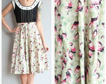 1950s Skirt // Summer Shell Cotton Skirt // vintage 50s skirt