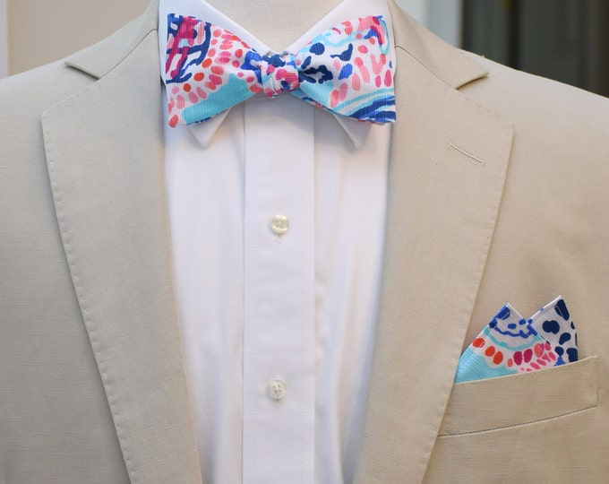 Man's Pocket Square & Bow Tie, Lilly Shell Me About It, wedding party wear, groomsmen gift, groom bow tie set , men's gift set, preppy gift