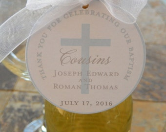 "Baptism or Christening Custom Thank You 2"" Favor Tags - For Mini Wine or Champagne Bottles - Catholic Party Favors - (50) Printed Gift Tags"