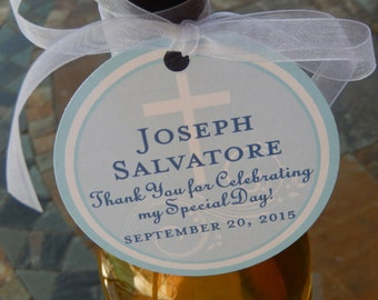 """50 Baptism or First Communion Custom 3"""" Favor Tags - For Wine or Champagne Bottles - Special Day Favors - Mason Jar Gifts - Cookie Favors"""