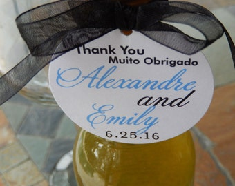 "Wedding Favor Custom 2"" Thank You Tags - For Mini Wine or Champagne Bottles - Muito Obrigado - Mason Jar Gifts - (50) Printed Tags"