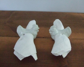 Porcelain Chicken Napkin Rings in White