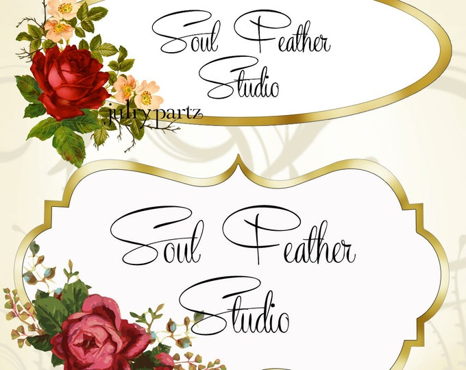 LOGO in Elegant Rose•Premade Logo•Jewelry Card Logo•Flower Logo•Custom Logo•Red Rose Pink Rose