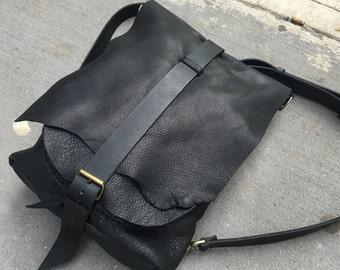 Rugged Backpack, Leather Knapsack, Haversack, Soft Black Bison Leather Backpack, Handmade Leather Bags and Backpacks