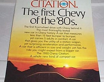 Rare vintage 1980 Chevy Citation car showroom catalog: Scarce 80's Chevrolet cars automobile catalog/Chevy catalog