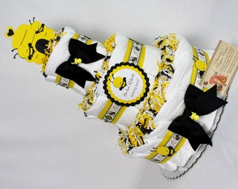 Baby Diaper Cake Bees Shower Gift or Centerpiece