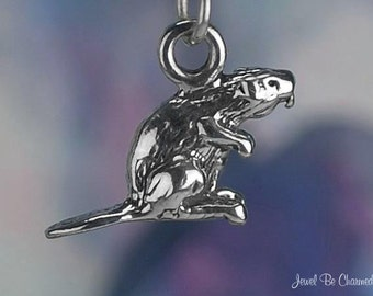 Sterling Silver Beaver Charm Beavers Pond Water Animal 3D Solid .925