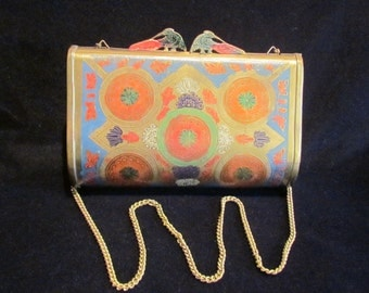 Peacock Purse Brass 1940s Clutch Purse Shoulder Bag