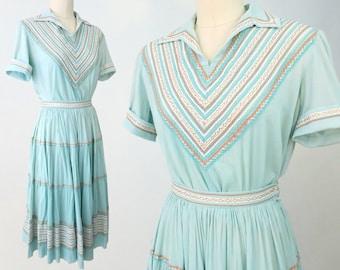 1950s Turquoise Patio Dress Set / Vintage Fiesta Dress